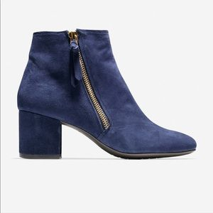 Cole Haan Saynor Grand Bootie Blue Suede Size 6.5